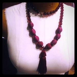 Jewelry - BOGO Vintage plastic beads, fabric beads, tassel